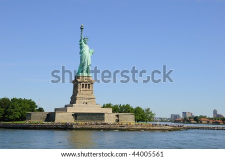 Statue of Liberty on Liberty Island in New York Harbor - stock photo