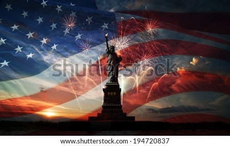 Statue of Liberty on the background of flag usa, sunrise and fireworks - stock photo