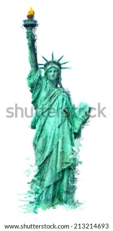 Statue of Liberty painted in impressionist style isolated on white background - stock photo