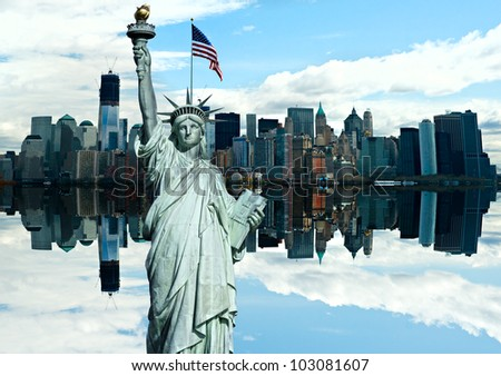 Statue of Liberty with Manhattan on background, New York City. USA. - stock photo
