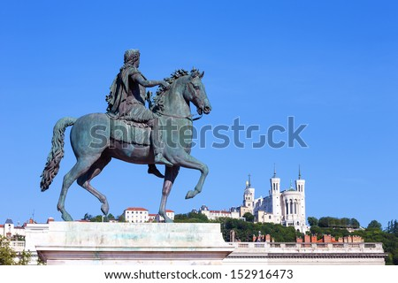 Statue of Louis XIV in Lyon city  - stock photo