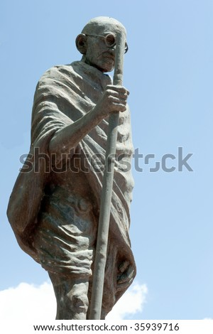 Statue of Mahatma Ghandi in a part in Trinidad and Tobago - stock photo