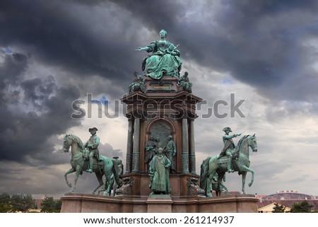 Statue of Maria Teresia over dramatic sky, Vienna, Austria - stock photo