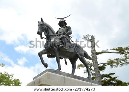 Statue of Masamune Date in Sendai castle - stock photo