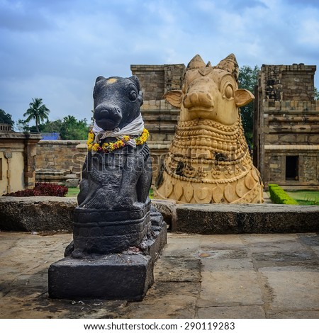 Statue of Nandi Bull in front of Gangaikondacholapuram Temple. In Hinduism Nandi is a Shiva vehicle. Great architecture of Hindu Temple dedicated to Shiva. South India, Tamil Nadu, Thanjavur  - stock photo