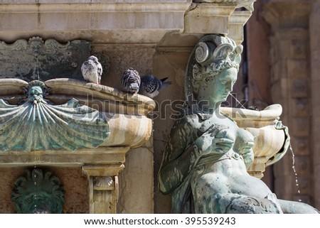 Statue of Neptune in Bologna - stock photo