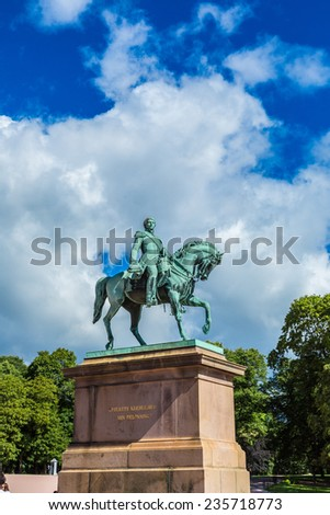 Statue of Norwegian King Carl Johan XIV in Oslo - stock photo