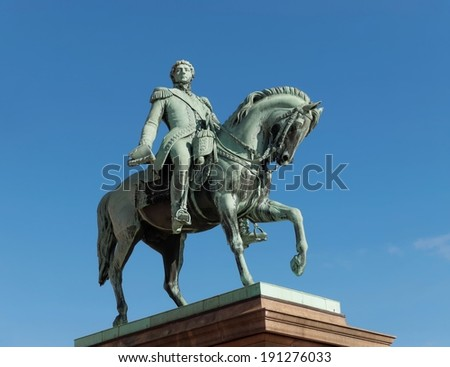 Statue of Norwegian King Carl Johan XIV located in front of the Royal Palace, Oslo, Norway - stock photo