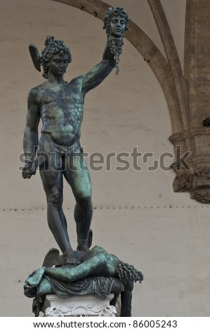 Statue of Perseus holding the severed head of Medusa, Florence, Italy - stock photo