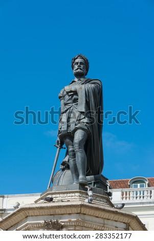 Statue of poet Luis de Camoes of Lisbon Portugal - stock photo
