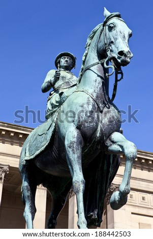 Statue of Queen Victoria outside St. George's Hall in Liverpool. - stock photo