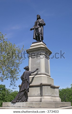 Statue of Roger Williams in  Providence, RI. - stock photo