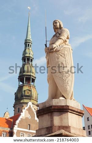 Statue of Roland in Riga, Latvia  - stock photo