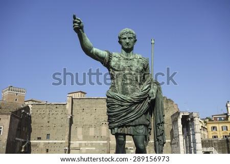 Statue of Roman Emperor Augustus on the via dei Fori Imperiali - stock photo