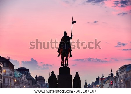 Statue of Saint Wenceslas on Wenceslas Square in Prague, Czech Republic - stock photo