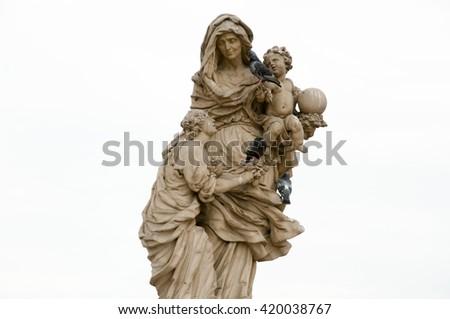 Statue of St Anne - Prague - Czech Republic - stock photo