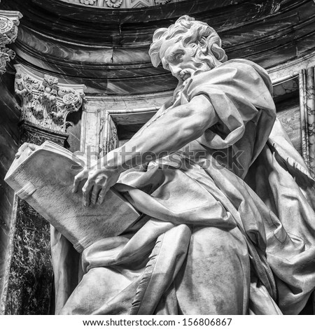 Statue of St. Matthew at the Basilica of St. John Lateran in Rome. Please look at my images of the other saints from this church. - stock photo