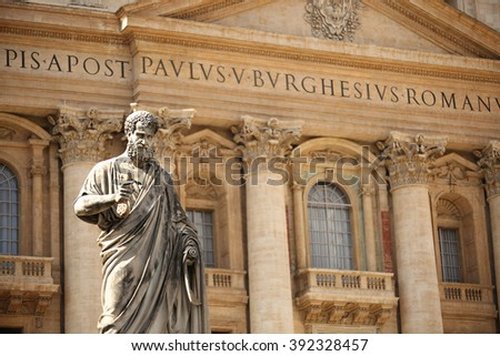 Statue of St. Peter by Giuseppe de Fabris at St Peter's Square, Vatican City, Italy. - stock photo