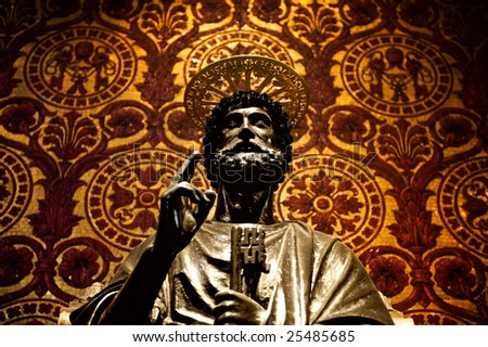 Statue of St. Peter in Vatican (Rome, Italy) - stock photo