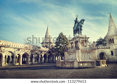 Statue of St. Stephen, Budapest, Hungary - stock photo