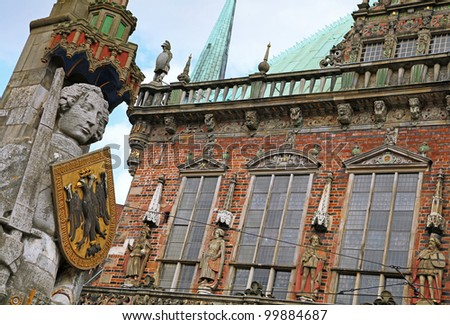 statue of the famous Roland, Bremen, Germany - stock photo