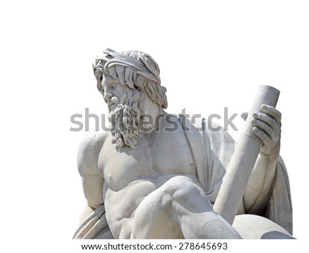 Statue of the god Zeus in Bernini's Fountain of the Four Rivers in the Piazza Navona, Rome (isolate with clipping path) - stock photo