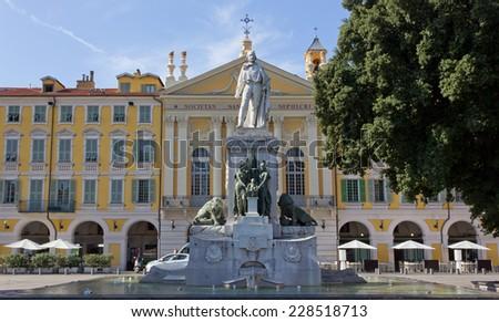 Statue of the Italian Hero Giuseppe Garibaldi in Nice, France - stock photo