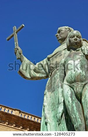 Statue of the missionary Junipero Serra - stock photo