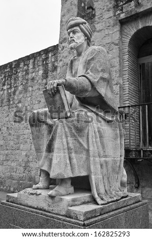 Statue of the philosopher Averroes in Cordoba,  Spain - stock photo