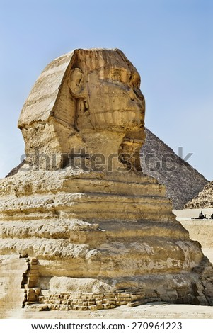 statue of the Sphinx on the Giza plateau - stock photo