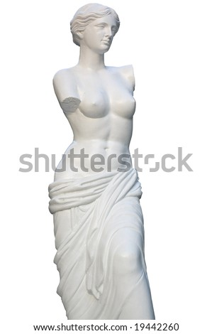 Statue of the Venera or Aphrodite of Melos, isolated on white - stock photo