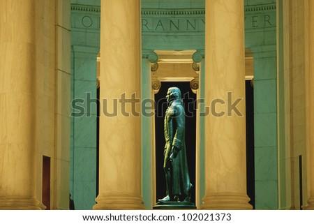 Statue of Thomas Jefferson in Jefferson Memorial - stock photo