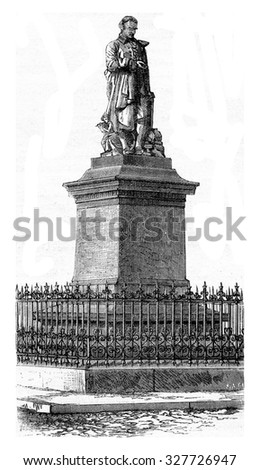 Statue of Vaucanson in Grenoble, vintage engraved illustration. Magasin Pittoresque (1882).