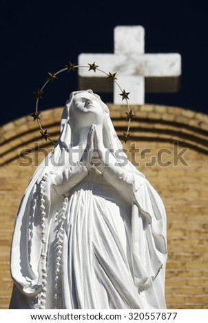 Statue of Virgin Mary at Basilica of San Albino, Mesilla Village, New Mexico - stock photo