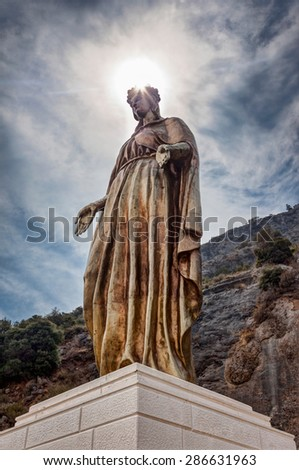 Statue of Virgin Mary in Ephesus Selchuk Aydin Turkey - stock photo
