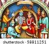 Statue of Vishnu on Hindu temple vadapalani murugan temple, Chennai, India - stock photo
