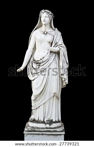 Statue on black background showing a greek mythical muse - stock photo