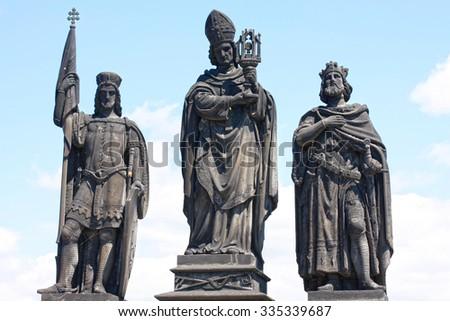 Statue on Charles Bridge in Prague, Czech Republic  - stock photo