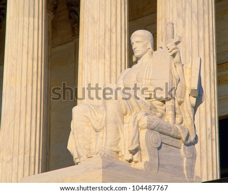 Statue outside US Supreme Court, Washington DC - stock photo