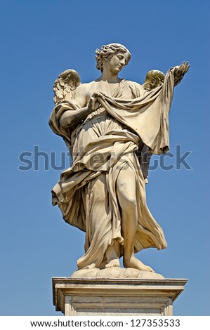 Statue over Sant Angelo Bridge, made by Bernini, Rome - stock photo