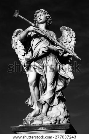 statue Potaverunt me aceto on bridge Castel Sant' Angelo in Rome, Italy  - stock photo