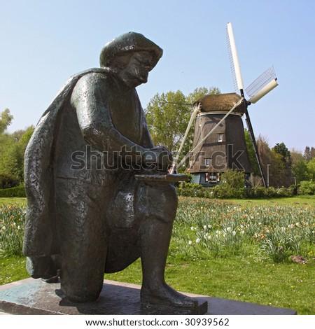 statue rembrandt - stock photo