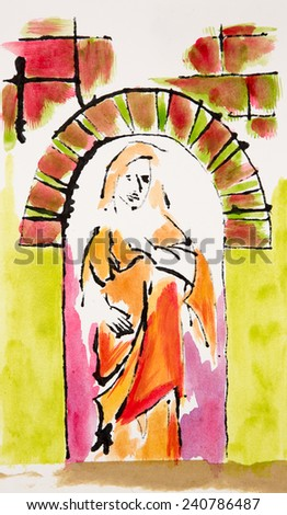 Statue/ Stained Glass Window - stock photo