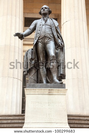 Statue to President George Washington Federal Hall NY - stock photo