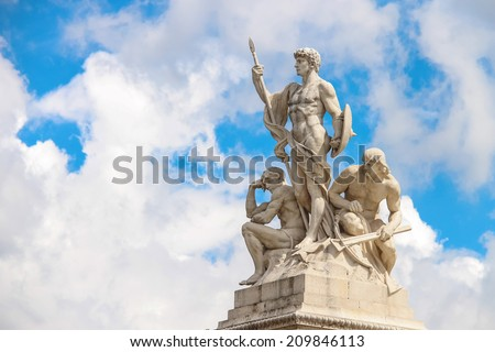Statues in a monument to Victor Emmanuel II. Piazza Venezia, Rome - stock photo