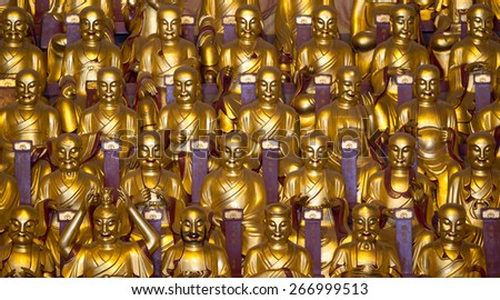 Statues in Buddhist Temple, Beijing, China - stock photo
