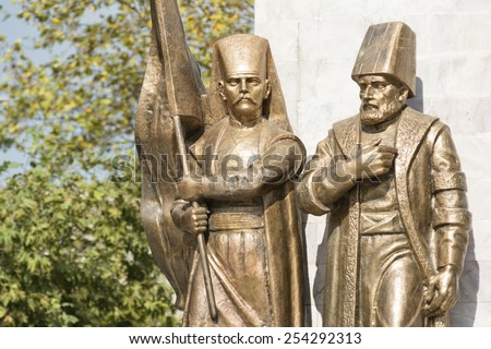 Statues of An Ottoman Pasha And Janissary, Istanbul, Turkey  - stock photo