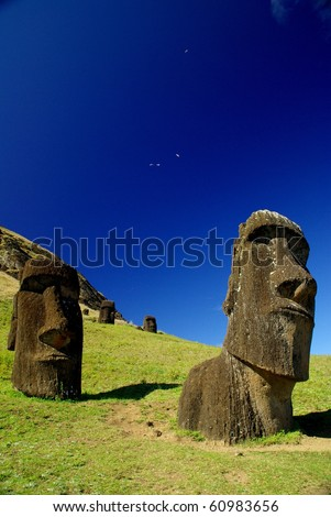 Statues of Easter Island - stock photo