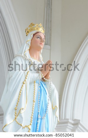 Statues of Holy Women in Roman Catholic Church, Thailand - stock photo
