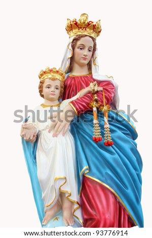 Statues of Holy Women in Roman Catholic Church, Thailand isolated on white background - stock photo